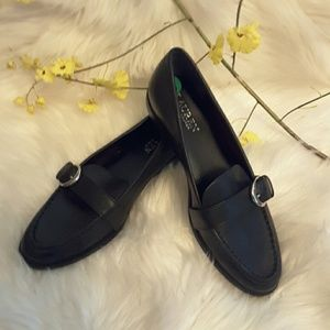 Ralph Lauren black leather slip on shoes